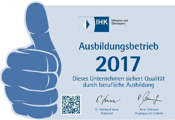 JBW ist IHK Ausbildungsbetrieb 2017
