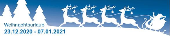 Betriebsruhe über die Festtage vom 23.12.2020 bis 07.01.2021