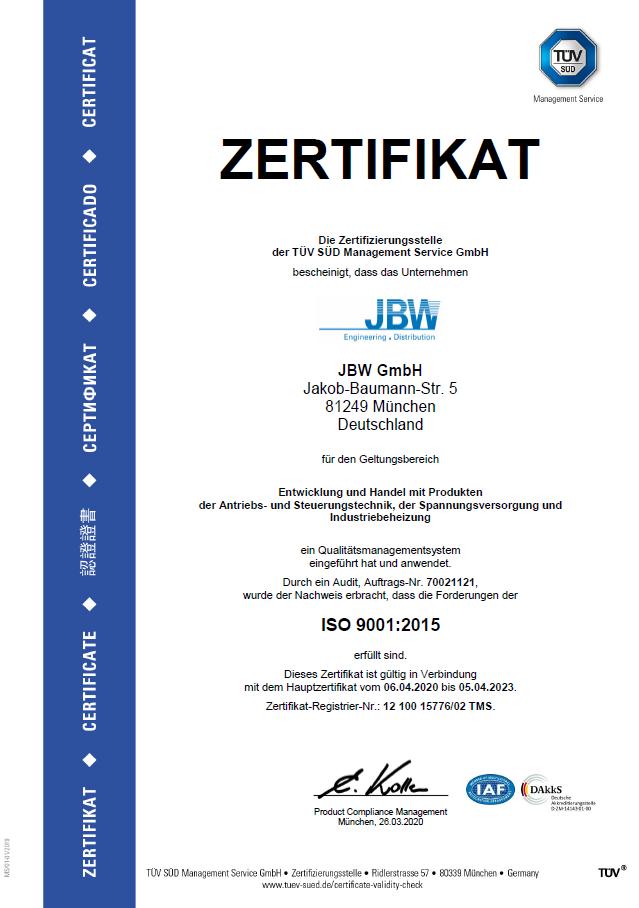 Zertifikat ISO9001 JBW GmbH 2020-2023