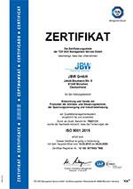 JBW Zertifikat ISO:9001 gültig bis 14.09.2018